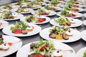 salads, plate, buffet
