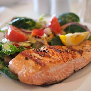 salmon, dish, food